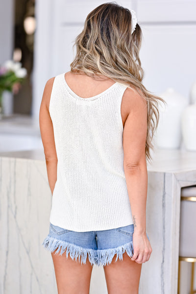 Don't Worry Knit Tank Top - White womens trendy ribbed knit white tank closet candy back