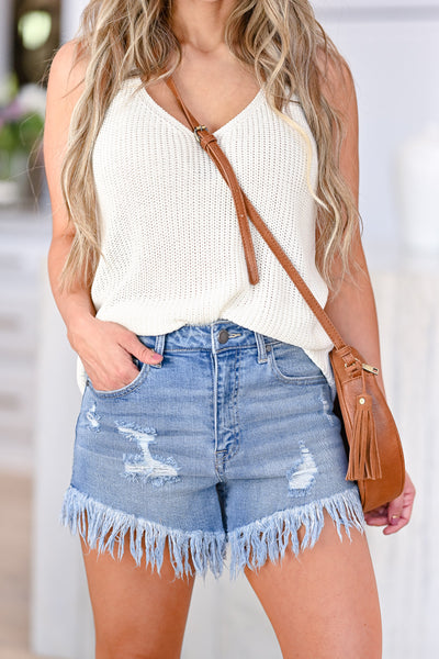 Sun Daze Distressed Denim Shorts - Light Wash womens trendy high rise frayed hem shorts closet candy front