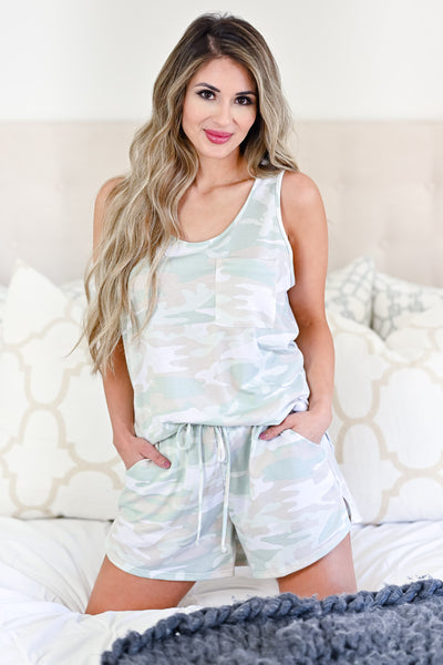 Under The Covers Camo Loungewear - Sage womens casual tank and shorts lounge set closet candy front 2