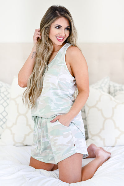 Under The Covers Camo Loungewear - Sage womens casual tank and shorts lounge set closet candy side
