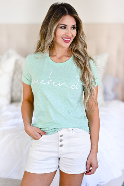 Weekend Graphic Tee - Heather Mint womens casual graphic weekend tee closet candy front 2