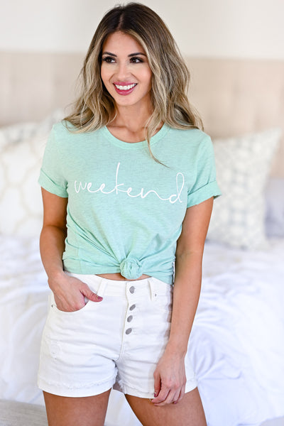 Weekend Graphic Tee - Heather Mint womens casual graphic weekend tee closet candy front