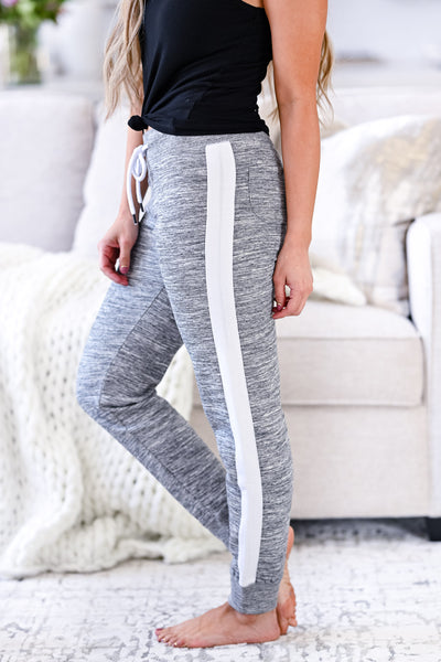 Stay Awake Joggers - Marled Grey womens casual side stripe detail joggers closet candy side
