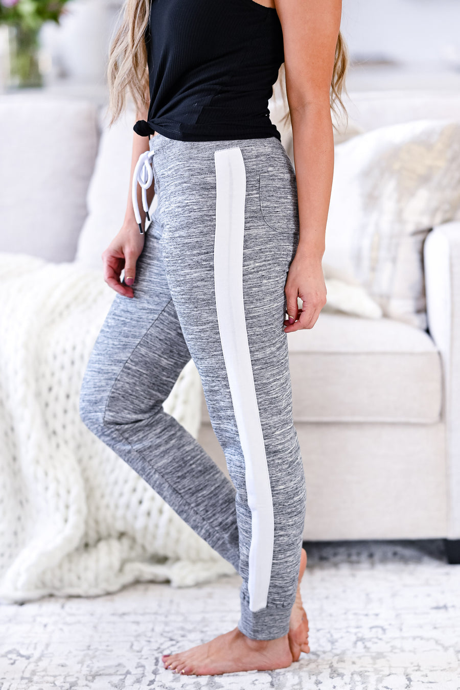 Stay Awake Joggers - Marled Grey womens casual side stripe detail joggers closet candy sitting
