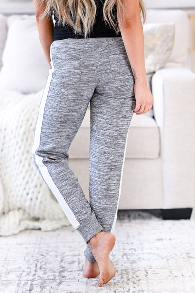 Stay Awake Joggers - Marled Grey womens casual side stripe detail joggers closet candy back