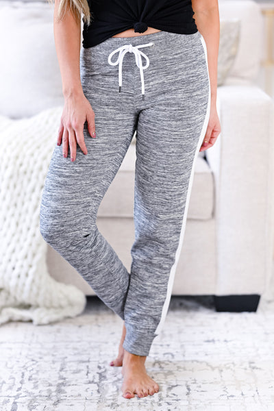 Stay Awake Joggers - Marled Grey womens casual side stripe detail joggers closet candy front 3