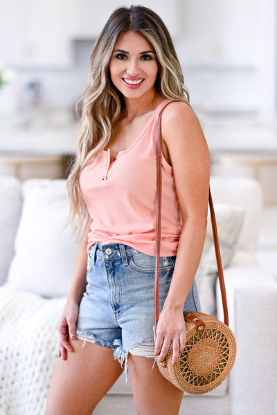 Summer Day Out Tank Top - Coral womens casual button front sleeveless tank top closet candy front