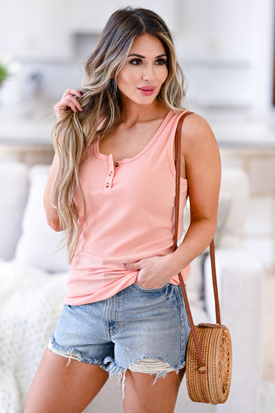 Summer Day Out Tank Top - Coral womens casual button front sleeveless tank top closet candy front 2