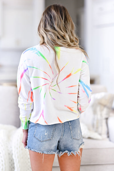 Morning Sun Tie Dye Lounge Top - Rainbow womens trendy tie dye long sleeve top closet candy back