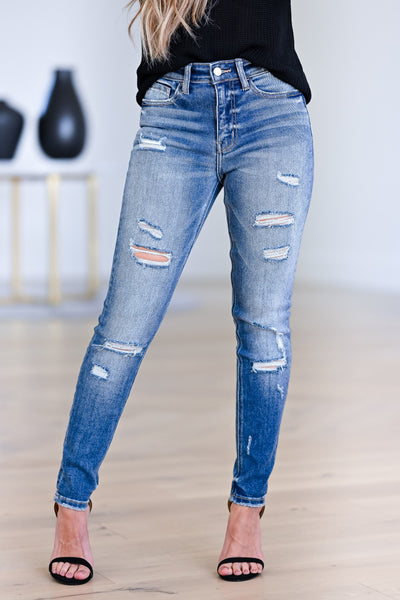 VERVET Distressed Julia Skinny Jeans - Medium Wash womens trendy distressed detail high rise jeans closet candy front 2