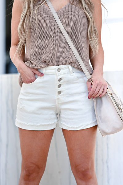 Beach Club Denim Shorts - White womens trendy exposed button high rise denim shorts closet candy front
