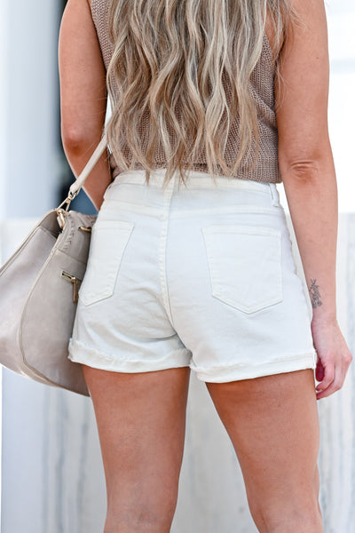 Beach Club Denim Shorts - White womens trendy exposed button high rise denim shorts closet candy back