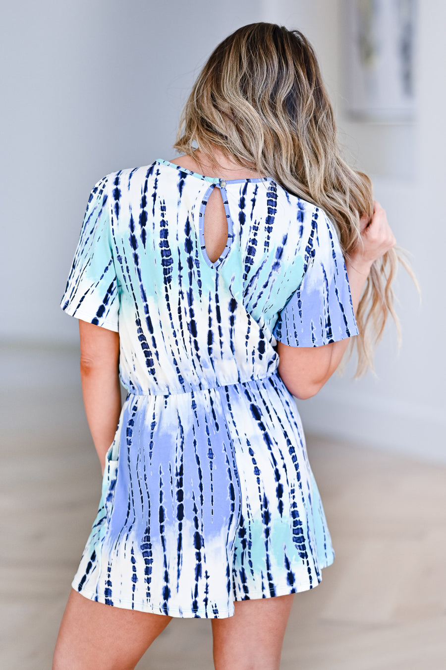 Cool Breeze Tie Dye Knit Romper - Blue womens trendy tie dye tie front short sleeve detail closet candy front