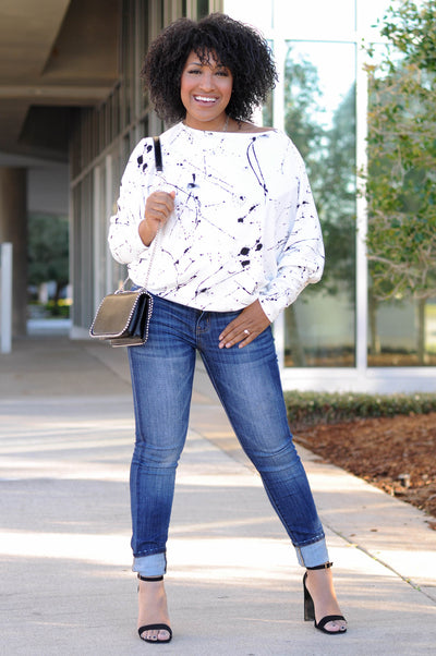 Paint The Town Dolman Sleeve Top - White closet candy 1