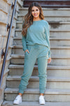 Lost Without You Loungewear - Teal closet candy women's casual super soft brushed knit loungewear long sleeve top joggers front4