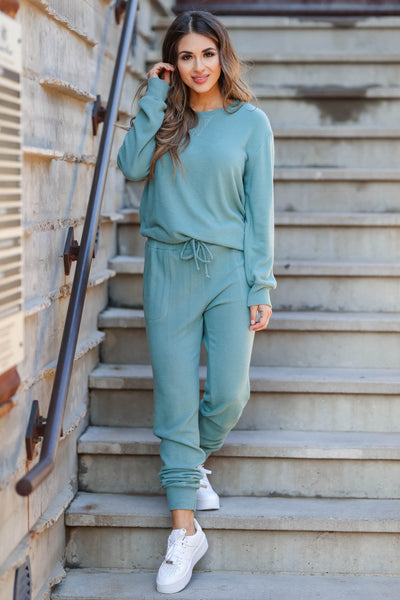 Lost Without You Loungewear - Teal closet candy women's casual super soft brushed knit loungewear long sleeve top joggers front3