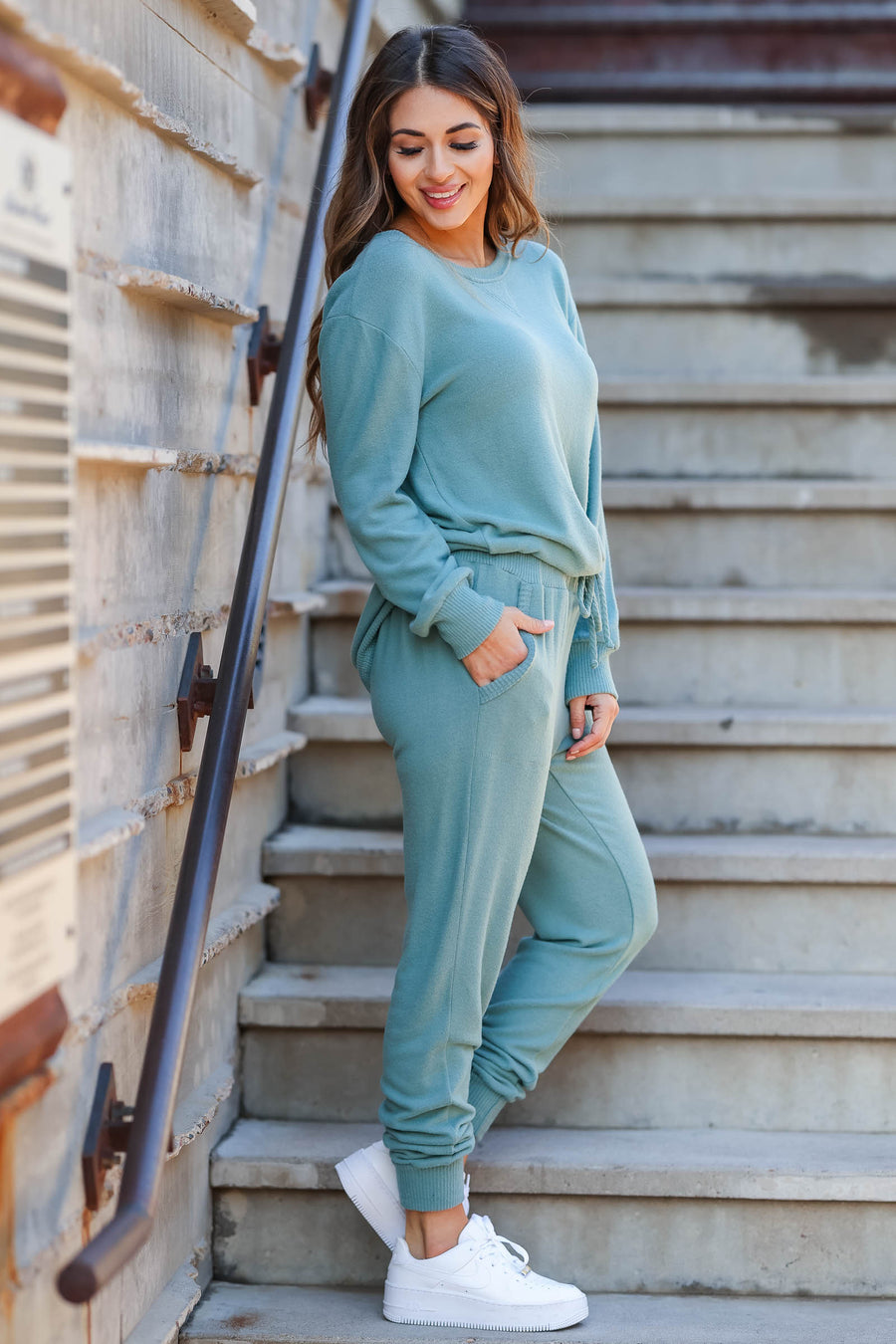 Lost Without You Loungewear - Teal closet candy women's casual super soft brushed knit loungewear long sleeve top joggers front