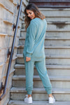 Lost Without You Loungewear - Teal closet candy women's casual super soft brushed knit loungewear long sleeve top joggers back