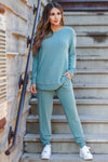 Lost Without You Loungewear - Teal closet candy women's casual super soft brushed knit loungewear long sleeve top joggers front2