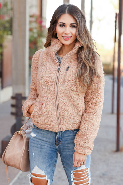 Always Reminding You Sherpa Jacket - Camel womens trendy zip up sherpa jacket closet candy front