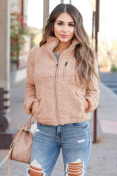 Always Reminding You Sherpa Jacket - Camel womens trendy zip up sherpa jacket closet candy front4