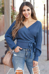 Best Day Ever Sweater - Blue Stone closet candy trendy women's ribbed surplice v neck sweater front
