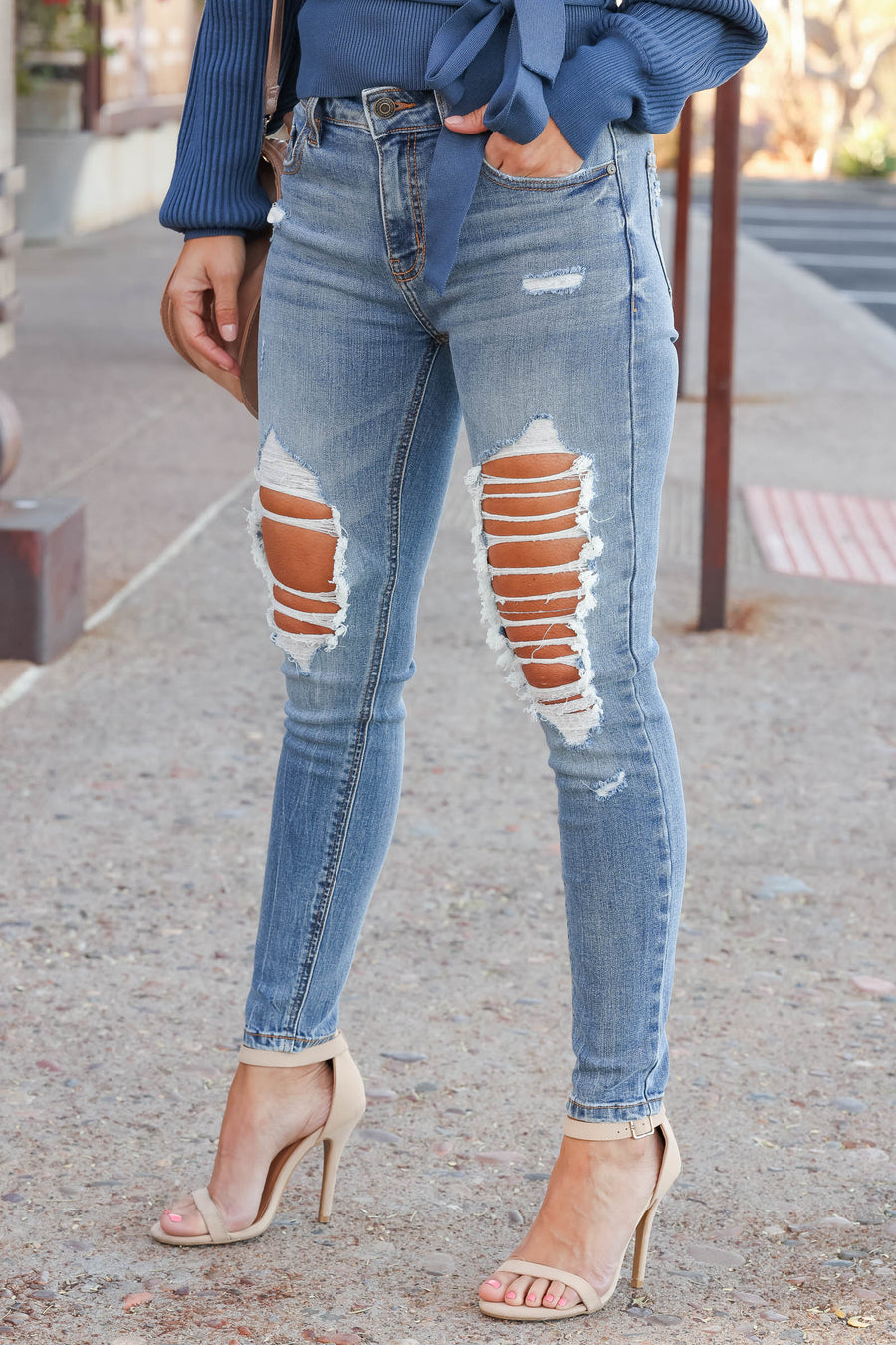 EUNINA Harper Distressed Skinny Jeans - Medium Wash closet candy women's high rise distressed skinny jeans front