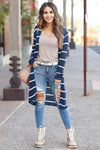 Dressed to Chill Cardigan - Navy closet candy women's trendy ribbed striped long sleeve cardigan front