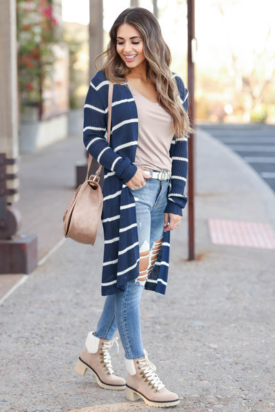 Dressed to Chill Cardigan - Navy closet candy women's trendy ribbed striped long sleeve cardigan side