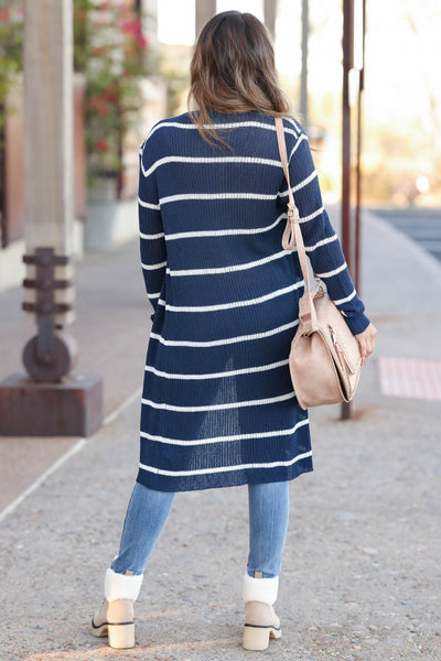 Dressed to Chill Cardigan - Navy closet candy women's trendy ribbed striped long sleeve cardigan back