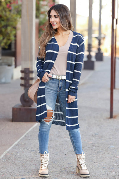 Dressed to Chill Cardigan - Navy closet candy women's trendy ribbed striped long sleeve cardigan front2
