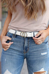 A Little Something Extra Belt - White closet candy women's double buckle closure belt 1