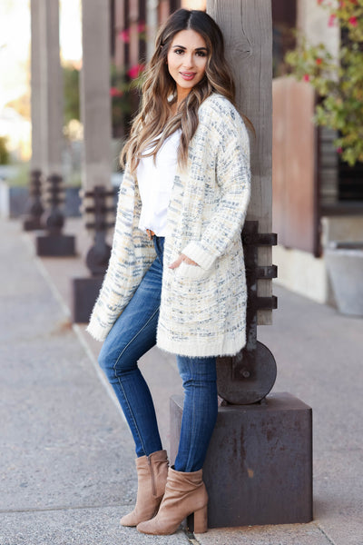 MYSTREE Won't Forget You Tweed Cardigan - Cream closet candy women's trendy tweed open front soft long sleeve cardigan side