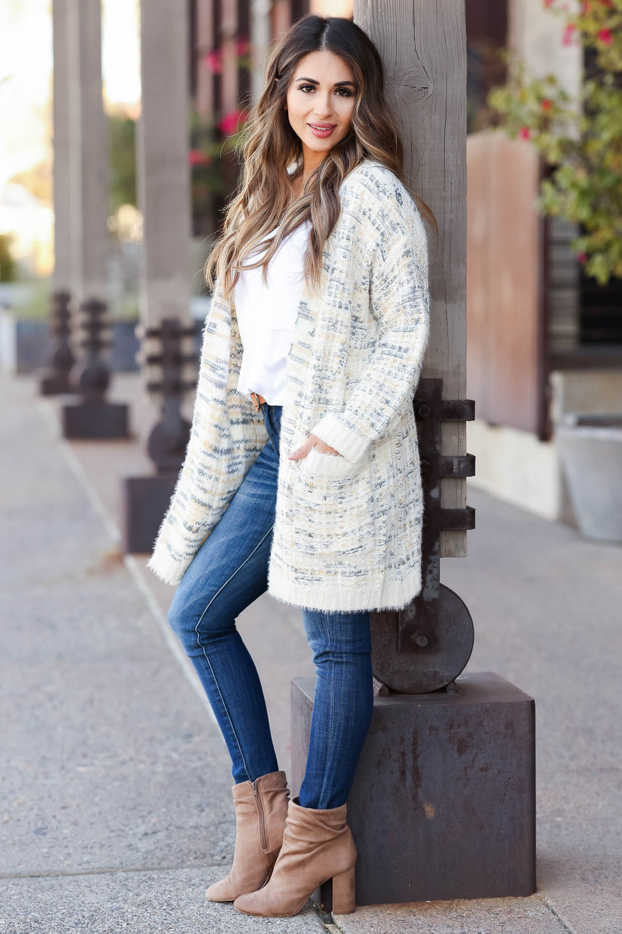 MYSTREE Won't Forget You Tweed Cardigan - Cream closet candy women's trendy tweed open front soft long sleeve cardigan front