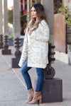 MYSTREE Won't Forget You Tweed Cardigan - Cream closet candy women's trendy tweed open front soft long sleeve cardigan side 2