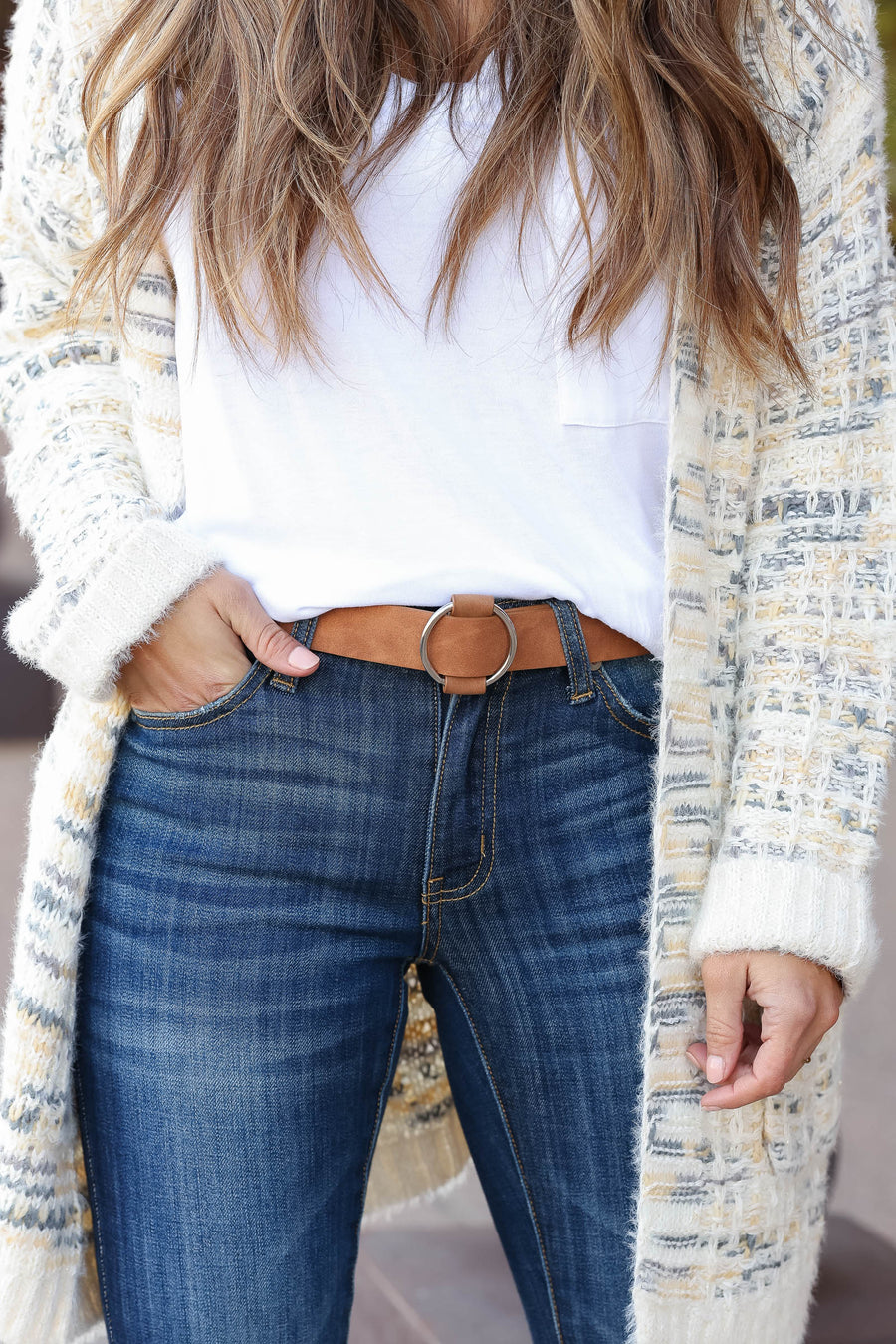 Going In Circles Belt - Latte closet candy trendy women's skinny belt with single ring closure close