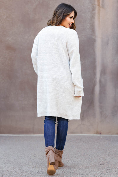 THREAD & SUPPLY Sweet Dreams Cardigan - Light Grey closet candy trendy women's open front sweater back