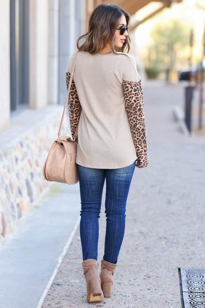 Be Fiercely You Long Sleeve Top - Mocha closet candy women's trendy mixed pattern shirt back