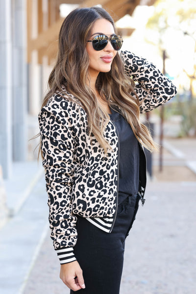 CBRAND I've Heard It Both Ways Reversible Bomber Jacket - Leopard closet candy women's trendy reversible zip up jacket side