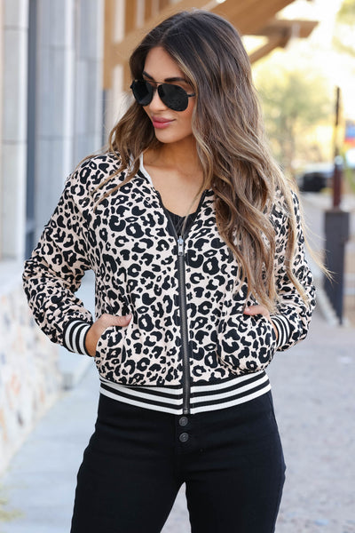 CBRAND I've Heard It Both Ways Reversible Bomber Jacket - Leopard closet candy women's trendy reversible zip up jacket front3