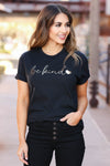 """Be Kind"" Foil Heart Tee - Black closet candy women's trendy printed round neck top front"
