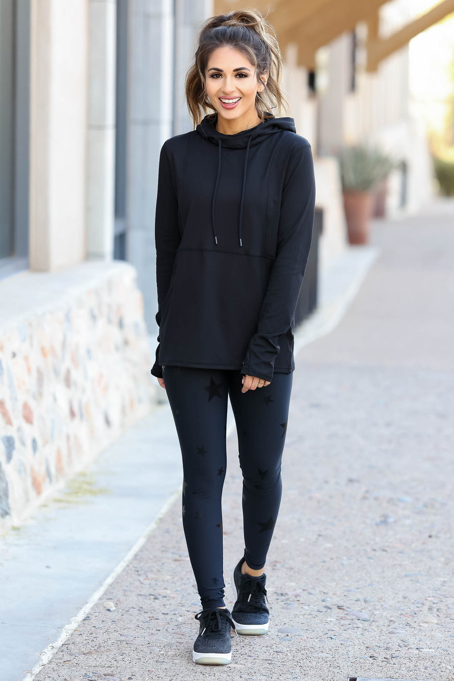 Goal Getter Athleisure Hoodie - Black closet candy women's moisture wicking athletic hooded top 1