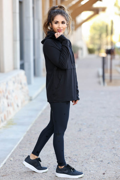 Goal Getter Athleisure Hoodie - Black closet candy women's moisture wicking athletic hooded top side