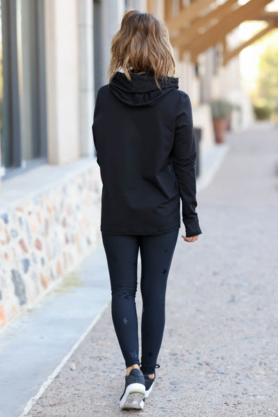Goal Getter Athleisure Hoodie - Black closet candy women's moisture wicking athletic hooded top back