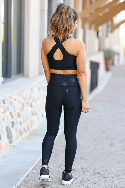 Rising Star Activewear - Black closet candy women's gym athletic sports bra and leggings back