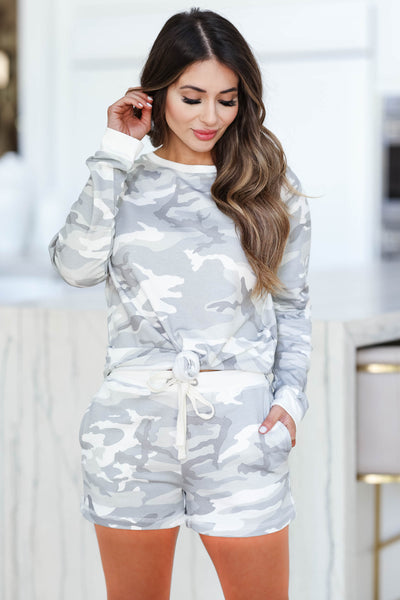 THREAD & SUPPLY Unwind Loungewear - Ivory Camo closet candy women's camo print cozy soft loungewear long sleeve top and shorts front2