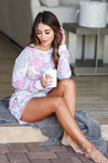 THREAD & SUPPLY Unwind Loungewear - Hibiscus Garden closet candy women's floral print cozy loungewear long sleeve top and shorts sitting