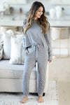 THREAD & SUPPLY Dreamer Loungewear - Charcoal Leopard closet candy women's trendy leopard print matching loungewear long sleeve top and joggers front2