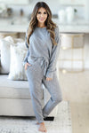 THREAD & SUPPLY Dreamer Loungewear - Charcoal Leopard closet candy women's trendy leopard print matching loungewear long sleeve top and joggers front