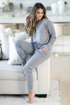 THREAD & SUPPLY Dreamer Loungewear - Charcoal Leopard closet candy women's trendy leopard print matching loungewear long sleeve top and joggers sitting